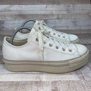 Converse All Star White Leather Platform Shoes 9.5